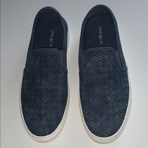 Navy blue slip ons with detail